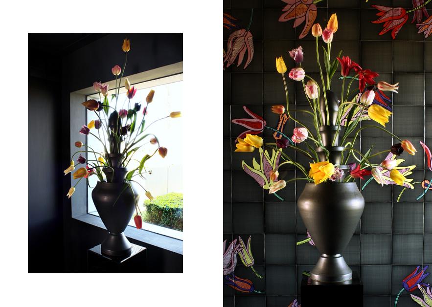 Vase Isphahan · Black Glazed Caramic 5-piece · 80cm