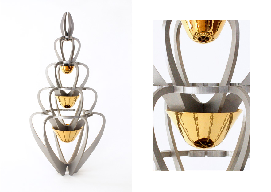 Vase Laledan · Stainless Steel with gilded bowls · 80cm