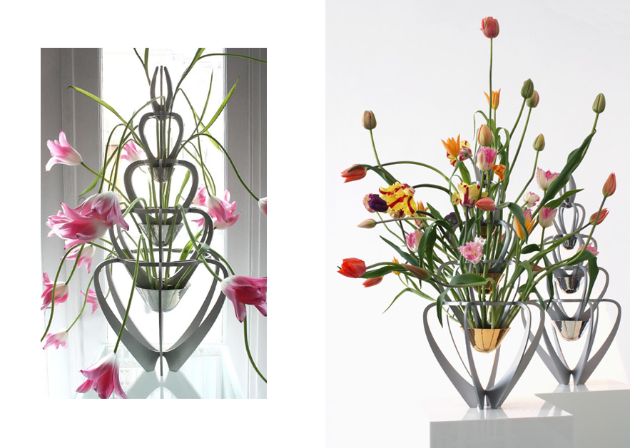 Vase Laledan · Stainless Steel with gilded or silver plated bowls · 80cm