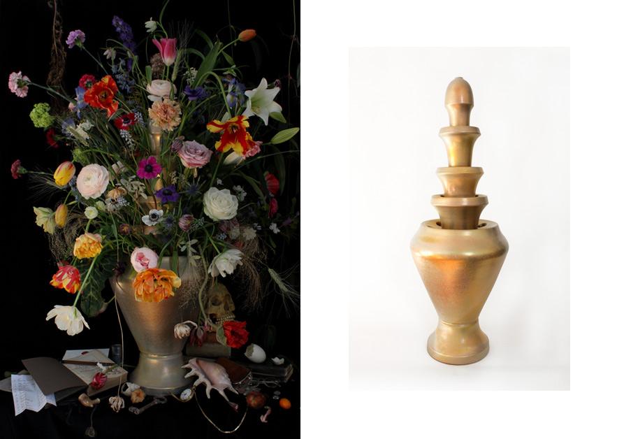 Vase Isphahan · Gold & White Glazed Caramic 5-piece · 80cm