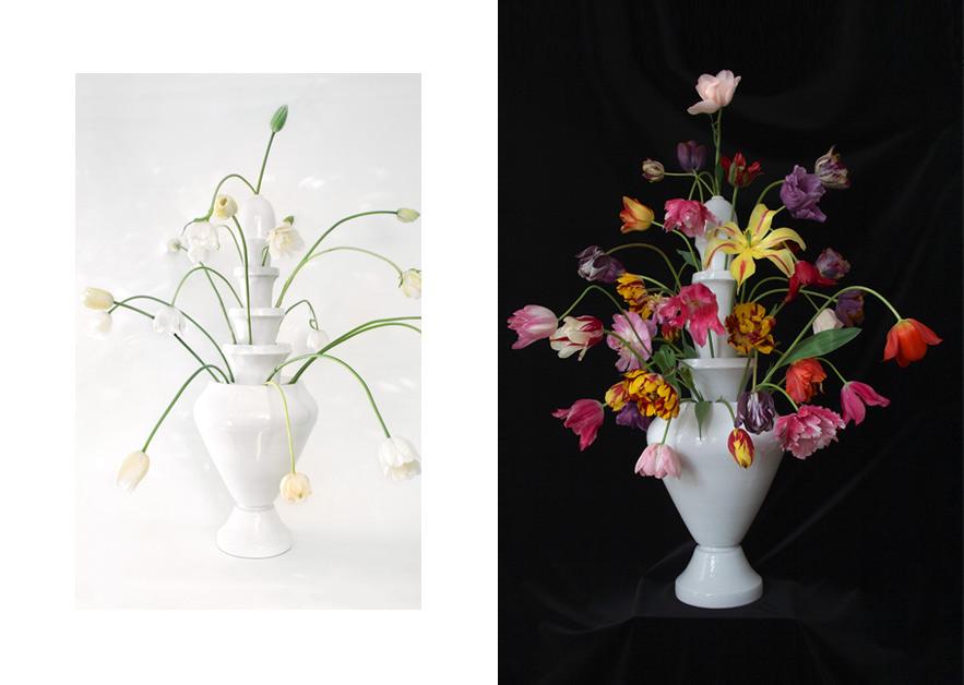 Vase Isphahan · White Glazed Caramic 5-piece · 80cm